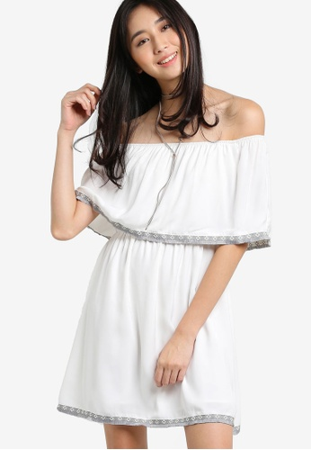 Something Borrowed white Off Shoulder Trim Dress EDF2EAACE4B996GS_1