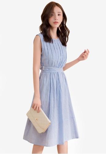 Yoco blue Sleeveless Stripe Tiered Midi Dress 85D4FAA2CE93BAGS_1
