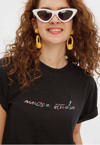 Muzca black and white MUZCA WOMEN Oversized Sequin T-shirt AE597AA4D252CDGS_1