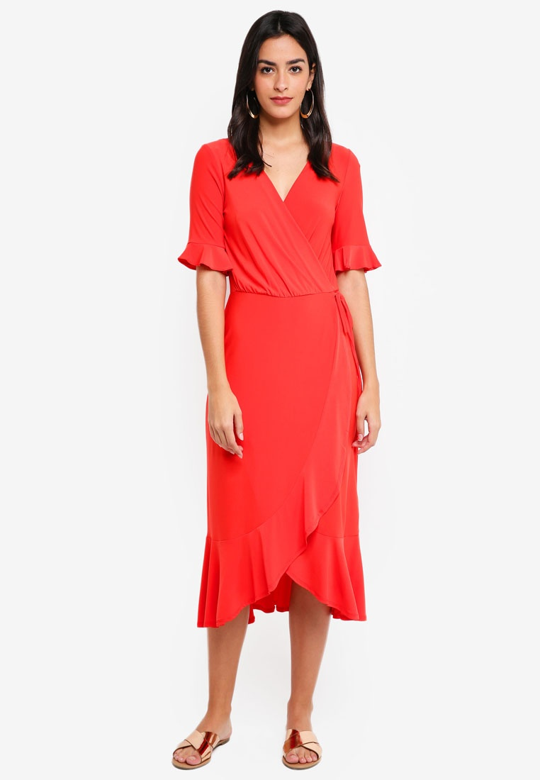 Long Line WAREHOUSE Light Tea Dress Red rpqUrv
