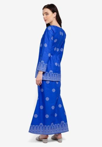 Buy Cotton Modern Kurung With Songket Print (Tabur) from Kasih in Blue and Silver at Zalora