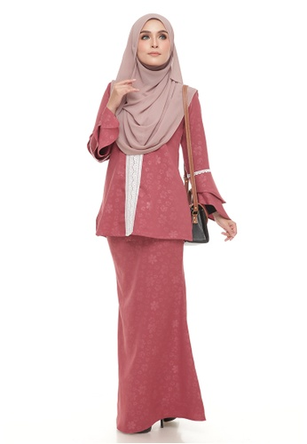 Kurung Luna Lace (Deep Coral) from Ms.Husna Apparel in Red and Brown