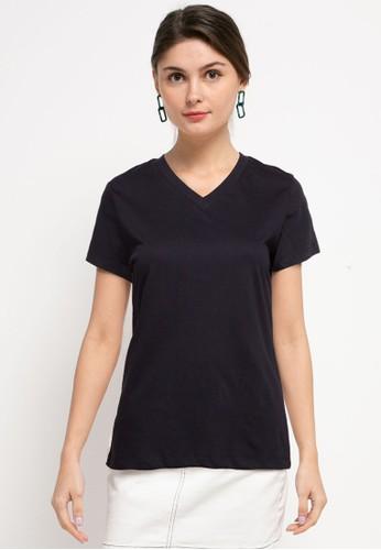 Tolliver black V Neck Basic Short Sleeve Tee EA897AA09E359AGS_1