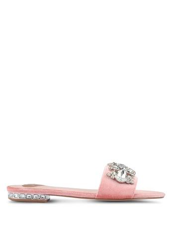Velvet pink Embellished Flat Sandals 2E54FSH32F6D18GS_1