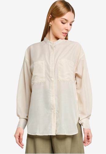 LOWRYS FARM brown Oversized Sheer Shirt 68332AAB359F37GS_1