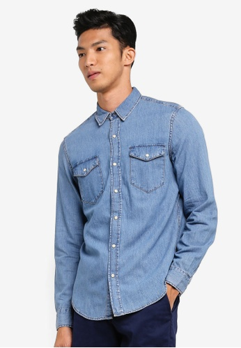 GAP blue Slim Fit Western Shirt 1F9A3AABF6CABFGS_1
