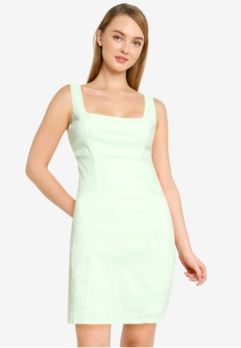 Supre green Capri Fitted Square Neck Mini Dress 3715AAADC73575GS_1