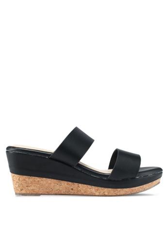 Bata 黑色 休閒楔型涼鞋 A9538SH6C5DDC2GS_1