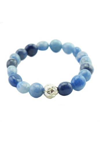 Memento Collection blue Lotus Detailed Blue Aventurine Bracelet ME060AC65HECMY_1