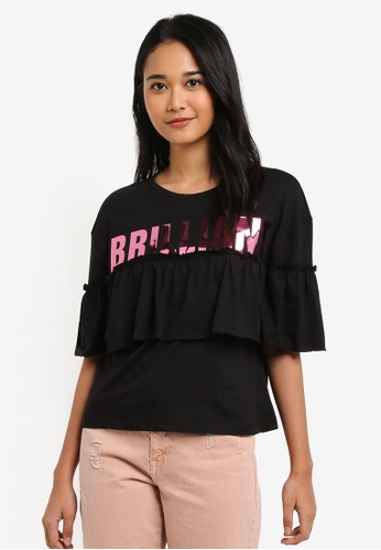 ONLY black Brilliant Short Sleeve Frill Top 701B1AAF543AABGS_1