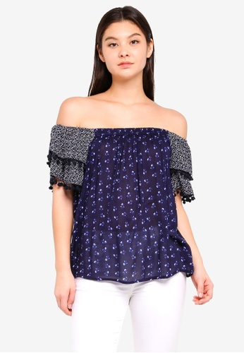 Dorothy Perkins navy Navy Mix N Match Pom Pom Top 7790EAA1408AE2GS_1