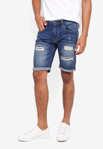 Indicode Jeans 藍色 Kaden Ripped Denim Shorts 30C13AABC475AFGS_1
