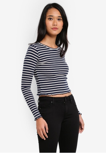TOPSHOP blue Petite Striped Lettuce Edge T-Shirt 090FEAACE00DFCGS_1