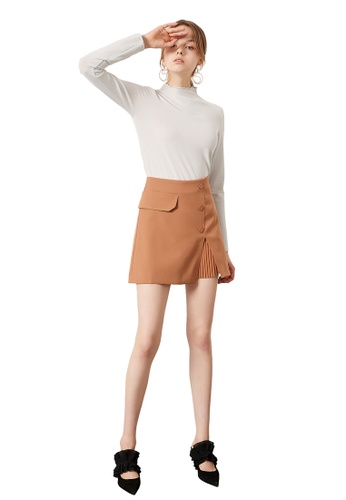 Hopeshow brown High Waist Mini Skirt with Front Slit 8CE18AA342A092GS_1