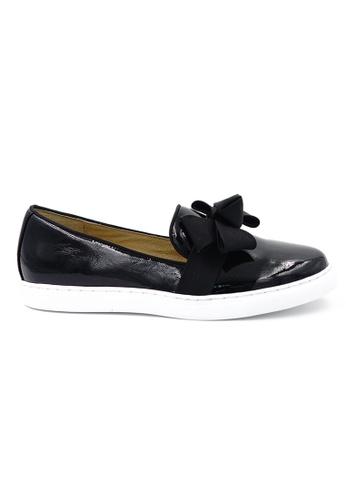 OSCAR & MAYA black LYON Suede Leather Bow Tie Pattern Slip-ons OS304SH13GLEHK_1