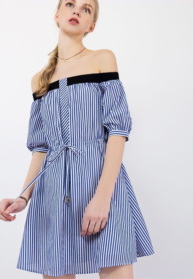 CA043027 2018 Off Shoulder Dress Sunnydaysweety Blue One New Blue Piece xCwWpC