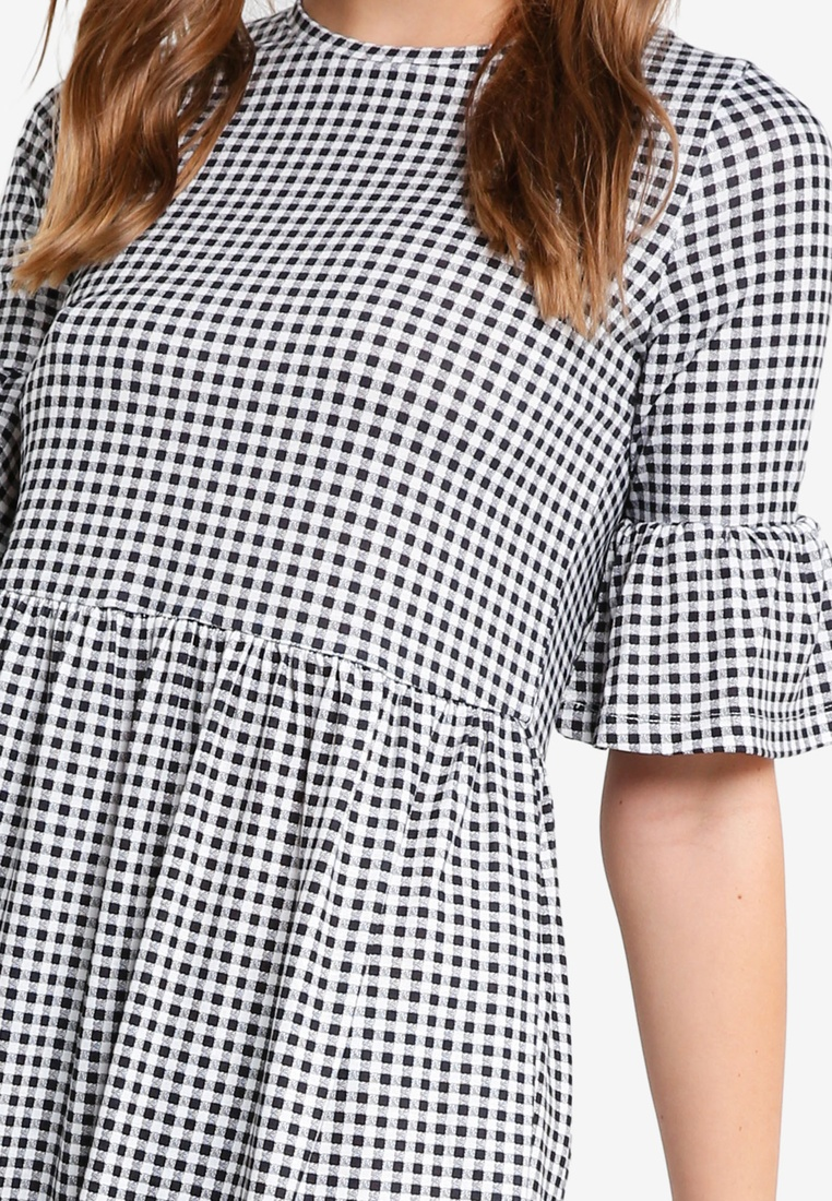 Marl Black Grey Basic 2 Gingham Shift ZALORA Ruffle BASICS Dress Sleeves pack ZqUORqPF