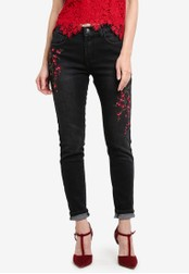 Something Borrowed black Embroidery Skinny Jeans 93EB1ZZ2A77168GS_1