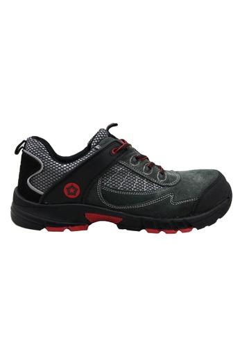 midzone grey Suede Leather Safety Shoes MI949SH78UBHMY_1