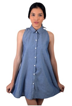 Haltered Button Down Chambray