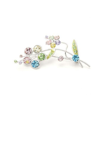 Glamorousky multi Flower and Leaves Brooch with Multi-colour Austrian Element Crystals 67604AC51FA7D3GS_1