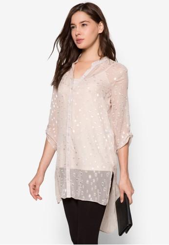 透膚點點印花立zalora時尚購物網的koumi koumi領襯衫, 服飾, 上衣