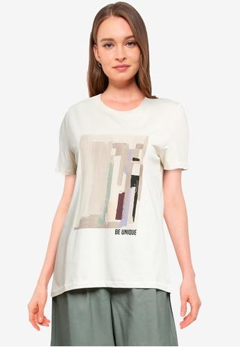 Vero Moda beige Dana Short Sleeve Art T-Shirt 6D3B3AA482E159GS_1