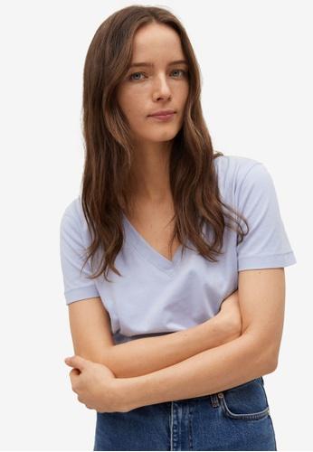 Mango blue V-Neck Cotton T-Shirt 669DAAA5462BE9GS_1