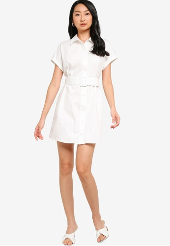 ZALORA BASICS white Dolman Sleeve Shirt Dress C0341AA10E3838GS_1