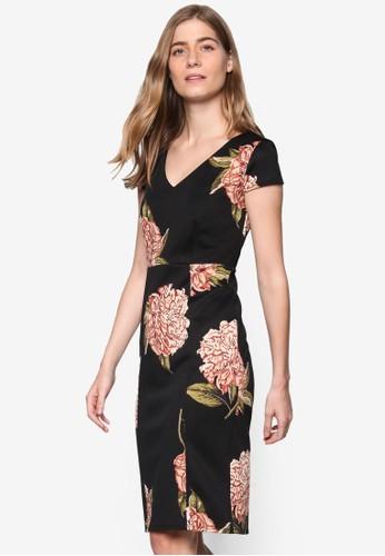 玫瑰印花鉛筆連esprit女裝身裙, 服飾, 洋裝