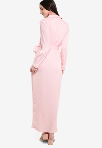 Jual Lubna Draped Embellished Wrap Dress Original Zalora