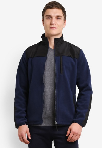 Burton Menswear London 海軍藍色 Navy Fleece Jacket BU964AA0SHNUMY_1