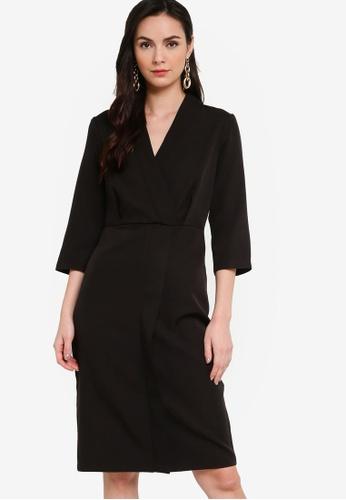 ZALORA WORK black Wrap Midi Dress 2F0DFAAB04FF35GS_1