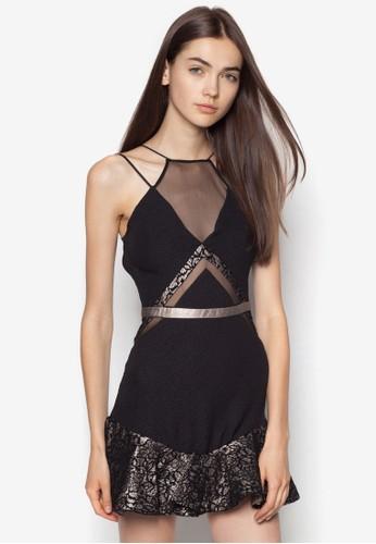 Taylor zalora開箱網紗荷葉邊挖肩洋裝, 服飾, 洋裝
