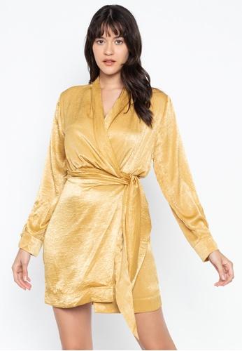 the___edit gold Chloe Wrap Dress 92D8BAA3F1029AGS_1