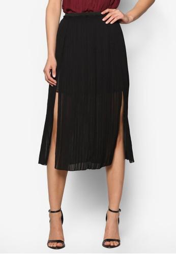 Premium 褶飾側開衩及膝短裙、 服飾、 裙子ZALORAPremium褶飾側開衩及膝短裙最新折價