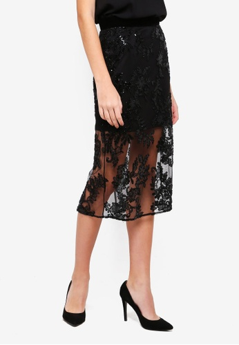 Miss Selfridge black Lace Beaded Pencil Skirt 1E144AAD87720CGS_1
