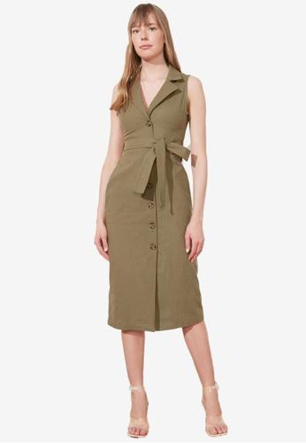 Trendyol green Belted Sleeveless Shirt Dress 29310AAB3E628DGS_1