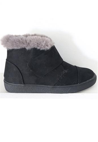 Crystal Korea Fashion black  Korean Made Suede Leather  Warm Boots CR681SH2WDSWHK_1
