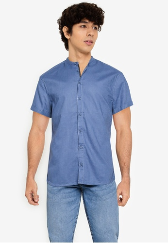 BLEND blue Grandad Collar Short Sleeve Shirt 21D2EAAED73070GS_1
