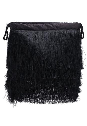 Mango Black Satin Fringed Bag E345dac8ad52b2gs 1