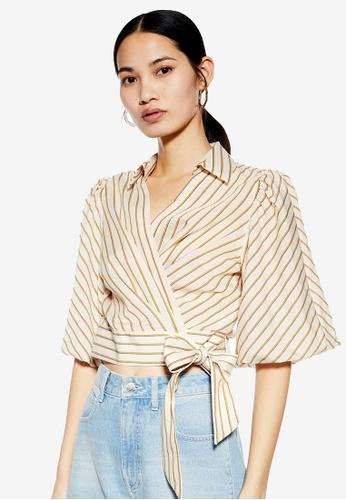 398c3f6f8ac66d Buy TOPSHOP Stripe Wrap Blouse Online on ZALORA Singapore