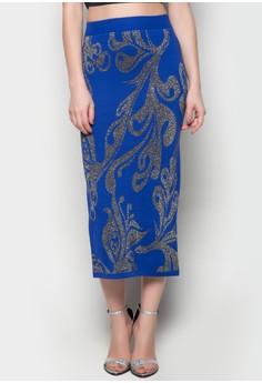 Maxi Knitted Skirt Leaf Printed Design