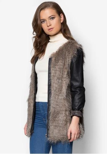 仿皮拼袖皮草外套, 服飾, 夾克zalora 心得 ptt & 大衣