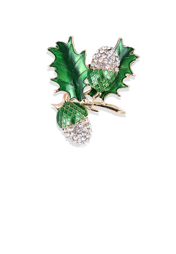 Glamorousky white Fashion and Elegant Plated Gold Enamel Green Grape Brooch with Cubic Zirconia F067CAC6C7FAB4GS_1