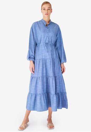 Trendyol blue Indigo Tie-Waist Maxi Dress C024BAAF55167AGS_1