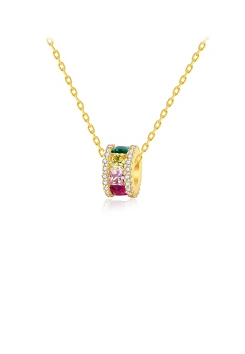 Glamorousky silver 925 Sterling Silver Plated Gold Simple and Fashion Geometric Circle Pendant with Colorful Cubic Zirconia and Necklace 2942DAC05CE085GS_1