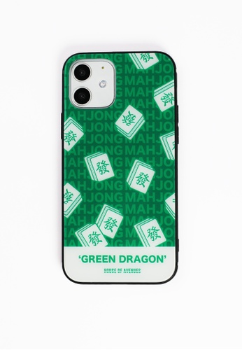 House of Avenues green Mahjong Pattern Tempered Glass Shell Phone Case For iPhone 12 8AF59ACD09D24AGS_1