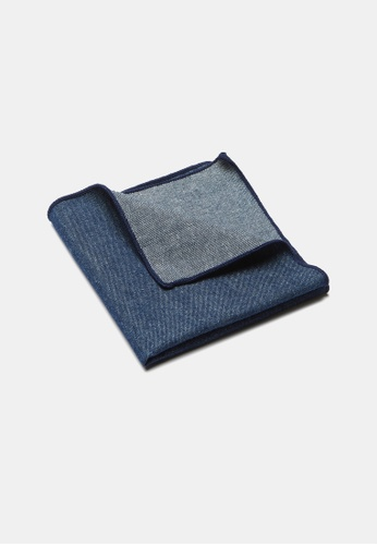 Buckle blue and navy Chambray Pocket Square 736A4ACF6414A2GS_1