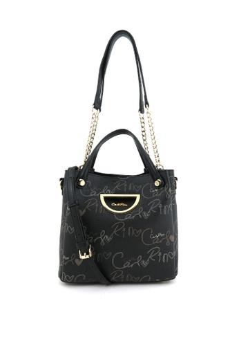 Carlo Rino black Black Petite 3-way Monogrammed Bucket Bag 163D7AC9C338DDGS_1